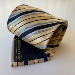 ERMENEGILDO ZEGNA Yellow Stripe Mens Tie